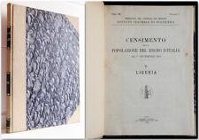 Liguria 1921 CENSIMENTO DELLA POPOLAZIONE DEL REGNO D'ITALIA 1926