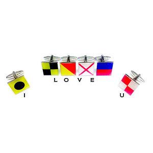 3 Pairs Gift Set. Sailors Nautical Flag Alphabet Cufflinks. Choose any 6 designs