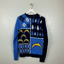 NFL San Diego Chargers Mens Sz M Blue Yellow Knit Ugly Christmas Sweater