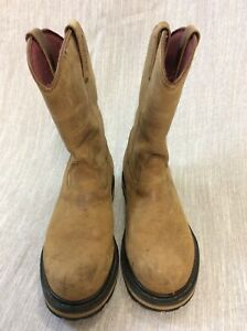 """Cabela's leather boot 11"""" High Size 8 EE tan Slip On work western muck rodeo fun"""
