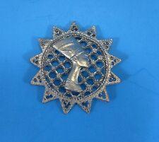 Vintage Metal Pendant - Egyptian Queen Nefertari - Button , Pendant, Necklace?