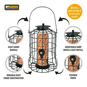 Squirrel Proof Hanging Bird Nut Peanut Feeder Heavy Duty Garden Wild Birds Metal