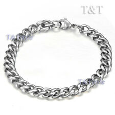 T&T 7mm 316L Stainless Steel Curb Chain Bracelet Silver CB27