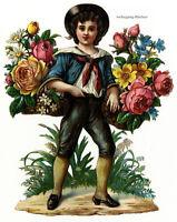 Vintage Victorian die cut paper scrap, Flower boy, c. 1876