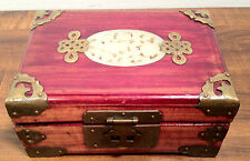 Beautiful Cherry Asian Jewelry Case w/ Brass Trim and Alabaster Estucheon