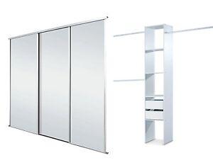 Sliding Wardrobe Doors (Mirrored x 3) & Storage. Up to 2235mm (7ft 4ins) wide