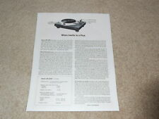 Denon DP-2500 Turntable Review, 1 page, Good Info! 1979