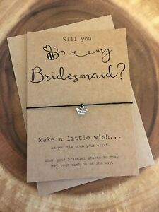 Will You Bee Be My Bridesmaid? Chief Maid Honour Flower Girl Wish Bracelet Gift