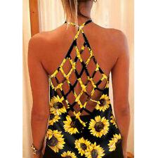 Women Summer Sleeveless Halter Floral Sunflower Blouse Casual Loose Tank T Shirt