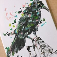 "Original hand painted art Raven acrylic painting 8"" X 12"""