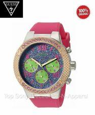 BRAND NEW Guess U0772l4 Women's Purple Glitz Dial Pink Silicone Strap Watch