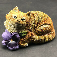 VALERIE PFEIFFER DESIGN CAT FIGURINE resin sculpture Canada kitten flower purple