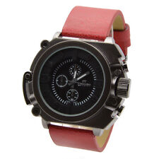 RED Large Fashion Boat Style Analogue Quartz Round Display Mens Women Watch DZ