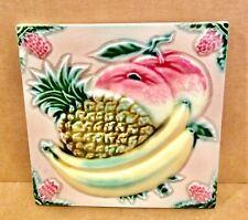 New listing Dk Japanese Tile Bananas, Pineapple, 1920's, Ceramic, 6x6, Danto Kaisha, Japan