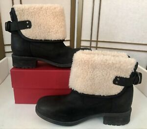 UGGS ALDON Boots 6.5M Black Leather Winter All Weather UGGPure Wool Lining NEW