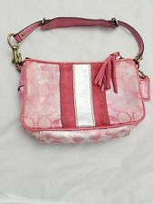 Coach authentic silver pink monogram patent leather suede small shoulder bag