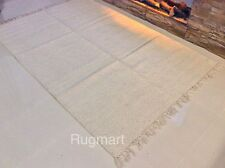Eco Friendly Plain Natural Cream Off White Recycled Cotton Rich Dhurrie Area Rug