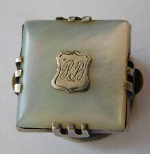 Antique solitaire stud MoP initials RB vintage Victorian West bachelor button