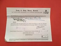 Army & Navy Stores Limited 1938  London receipt   R35007