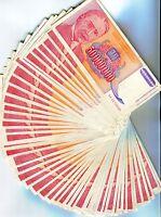 Yugoslavia Bundle of 100 Notes P133 50 Million Dinara VF Condition Year 1993