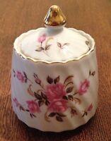 Lefton Swirl Jam Jar Sugar Bowl Pink Roses Gold Gilt Trim