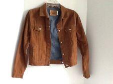 Vintage brown levi suede looking button  jean lining jacket hippie retro JR-XL
