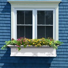 4 ft. Window Box Planter Flower Pot Self Watering White Outdoor Rectangle Herbs