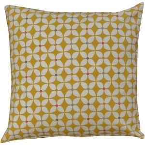 Retro Geometric Cushion in Ochre Yellow. 100% Cotton. Multicoloured Detail.