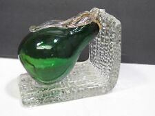 Vintage Murano Glass Pear Bookend Green Gold Leaf