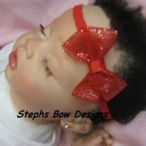 Red Sparkle Sheer Dainty Hair Bow Lace Headband 4 Preemie Newborn Tod Christmas