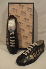 NIB AUTH GUCCI men BLACK Leather SNEAKERS shoes GUCCY Lace up size IT 9  10 US