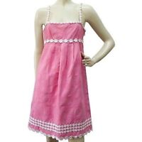 Auth Juicy Couture Knee Length Hearts & Flowers Pink Cotton Summer Dress Size 4