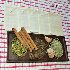 """5 X MUSLIN BAGS 3X4"""" SOUPS / BOUQUET GARNI INFUSION OTHER HERBS SPICES £4.98 F/P"""