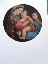 BEAUTIFUL VINTAGE ART PRINT ~ THE MADONNA OF THE CHAIR ~ RAPHAEL