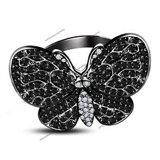 10K Black Gold Diamond Mariah Carey Inspired Butterfly Ring Perfect Fan Gift Sz