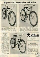 1939 PAPER AD Rollfast Bicycle Bike Harvard Motobike