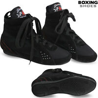 Leather Boxing Boots Shoes Anklet Boot Light Weight Footwears Mens Black
