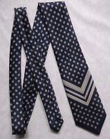 Vintage TOOTAL Tie Mens Necktie Retro 1980s Fashion NAVY CREAM ABSTRACT PAISLEY