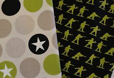 SOLDIERS ARMY MILITARY MAX STARS GREEN BLACK cotton Fabric ~TWO FQs~