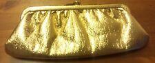 Vintage, 1970's, Iridescent Bright Gold, Split Leather, Clutch Handbag
