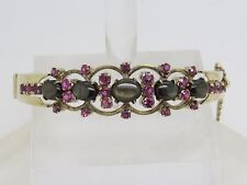 14k Yellow Gold Oval Brown Black Star Sapphire Pink Ruby Cluster Bangle Bracelet