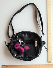 Women's Juicy Couture BLACK with Purple Pom Poms Purse Cross Body Hand Bag