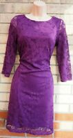 G21 PURPLE FLORAL LACE 3/4 SLEEVE BODYCON PARTY FORMAL WORK PENCIL DRESS 10 S