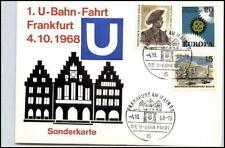 SK Frankfurt 1. U-Bahn Fahrt Sonderstempel Berlin-Marke Sonderkarte Frankatur