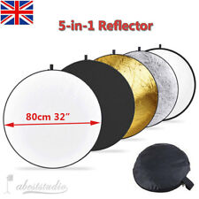 "Photo Studio 80cm 32"" Light 5 in1 Collapsible Disc Multi Reflector Panel Bag UK"