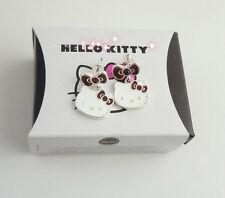 Sanrio Hello Kitty Silver-Plated Red or Purple Diamante Earrings BNIB Licensed