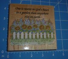 Nearer God's Heart In Garden Picket Fence Sunflower Wood Mounted Rubber Stamp