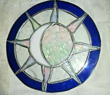 HAND MADE LEADED, STAINED GLASS SUNCATCHER, MOON & SUN OPAL & BLUE