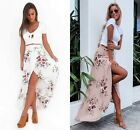 AU Womens Floral High Waisted Ladies Long Maxi Skirt Summer Split Wrap Sun Dress