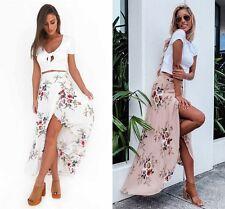 AU Womens Floral High Waisted Ladies Long Maxi Skirt Summer Split Wrap Sun Dress